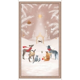 Woodland Dream Winter Nativity on Taupe Fabric Panel