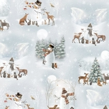 Woodland Friends Winter Scenery on Grey Fabric
