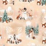 Woodland Friends Winter Scenery on Light Taupe Fabric