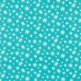 Yeti For Winter Snowflakes on Turquoise Flannel Fabric